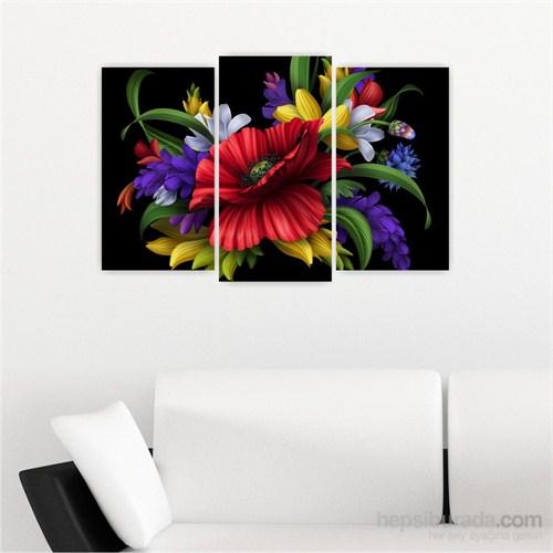 Dekoriza Model Çiçek 3 Parçalı Kanvas Tablo 80X50cm