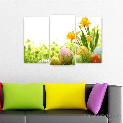 Dekoriza Çiçekler & Renkli Yumurtalar 3 Parçalı Kanvas Tablo 80X50cm