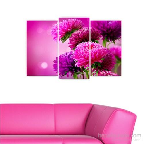 Dekoriza -Mor Çiçekler 3 Parçalı Kanvas Tablo 80X50cm