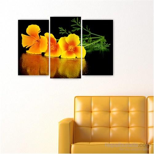 Dekoriza Sarı Çiçekler Kanvas Tablo 3 Parçalı Kanvas Tablo 80X50cm