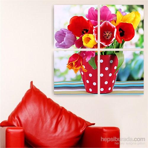 Dekoriza Vazoda Çiçekler Kanvas Tablo 4 Parçalı Kanvas Tablo 92X92cm