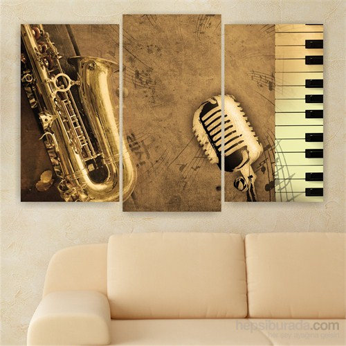Dekoriza Saksafon & Piano 3 Parçalı Kanvas Tablo 80X50cm