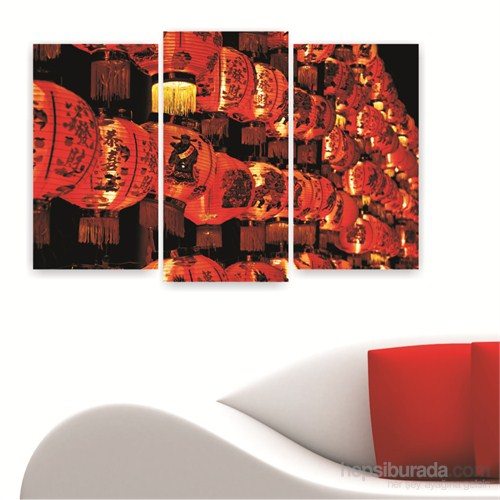 Dekoriza Çin Lambaları 3 Parçalı Kanvas Tablo 80X50cm