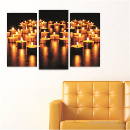 Dekoriza Tea Light Mumlar 3 Parçalı Kanvas Tablo 80X50cm