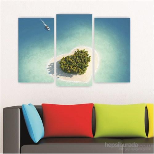 Dekoriza Romantik Kalpli Ada 3 Parçalı Kanvas Tablo 80X50cm