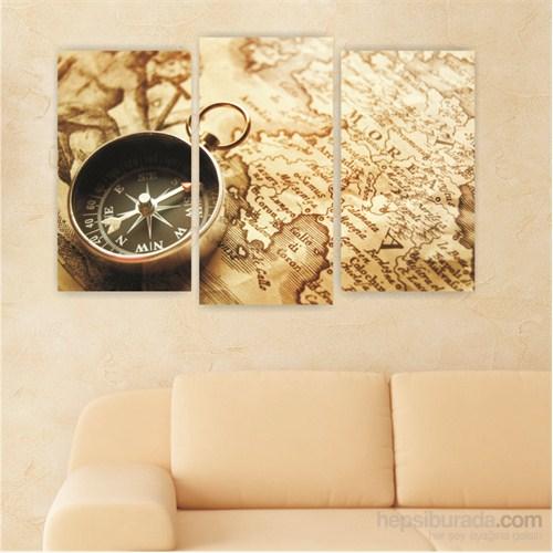 Dekoriza Antika Harita & Pusula 3 Parçalı Kanvas Tablo 80X50cm