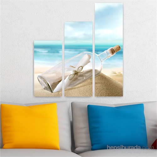 Dekoriza Kumsal Manzarası 3 Parçalı Kanvas Tablo 95X90cm