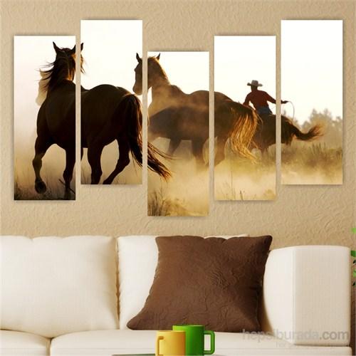 Dekoriza Kovboy & Atlar 5 Parçalı Kanvas Tablo 160X95cm