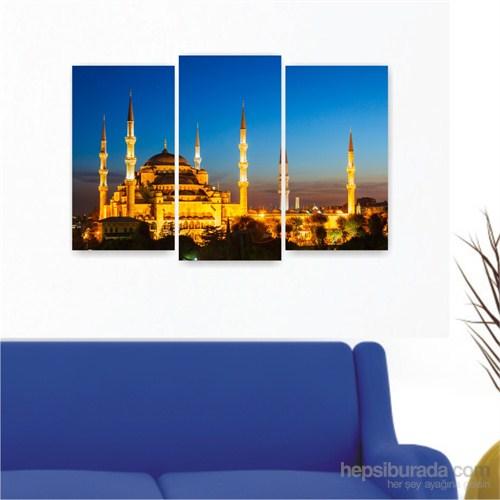 Dekoriza İstanbul Sultanahmet Camii 3 Parçalı Kanvas Tablo 80X50cm
