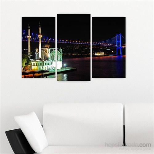 Dekoriza İstanbul Gece Ortaköy Manzarası 3 Parçalı Kanvas Tablo 80X50cm