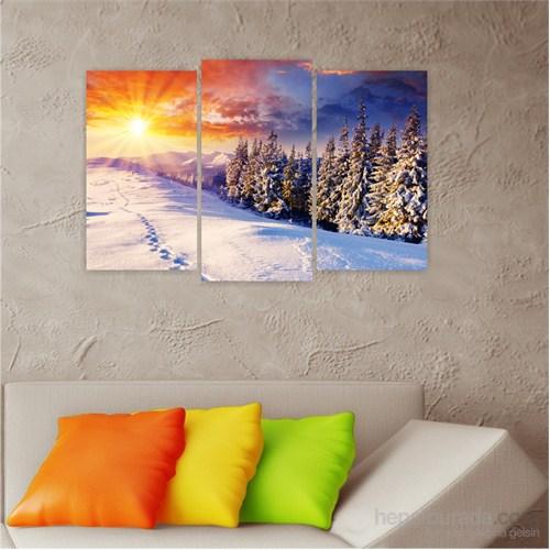 Dekoriza Kar & Güneş 3 Parçalı Kanvas Tablo 80X50cm