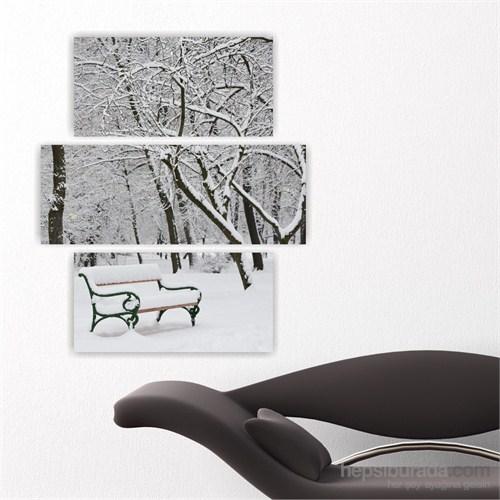 Dekoriza Karlı Ağaçlar & Bank Kanvas Tablo 3 Parçalı Kanvas Tablo 80X95cm
