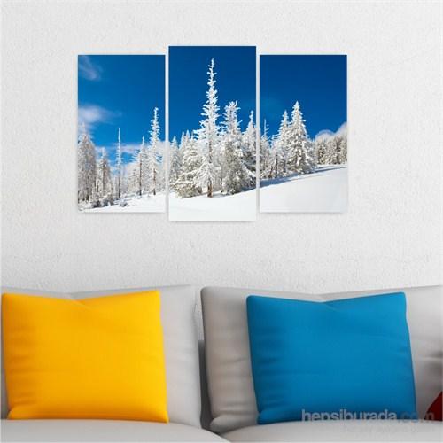 Dekoriza Karlı Ağaçlar 3 Parçalı Kanvas Tablo 80X50cm