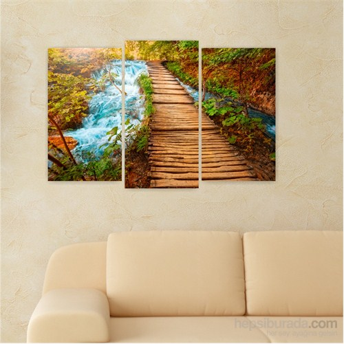 Dekoriza Şelale & Tahta Köprü 3 Parçalı Kanvas Tablo 80X50cm