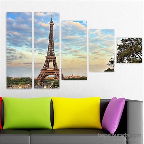 Dekoriza Paris Eyfel Kulesi 5 Parçalı Kanvas Tablo 160X90cm