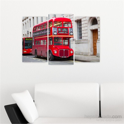 Dekoriza İngiltere Londra 3 Parçalı Kanvas Tablo 80X50cm