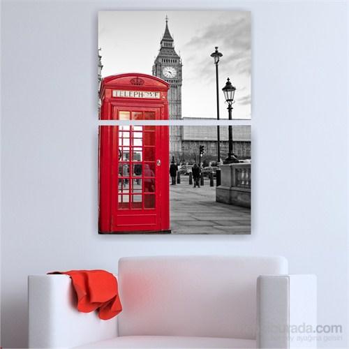 Dekoriza Siyah & Beyaz Londra & Telefon Kulubesi 2 Parçalı Kanvas Tablo 70X102cm
