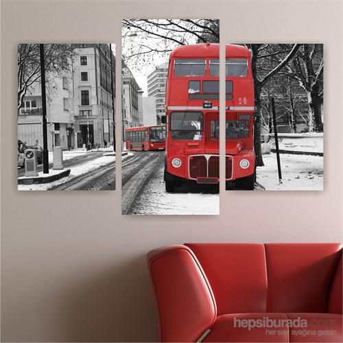 Dekoriza Siyah & Beyaz Londra 3 Parçalı Kanvas Tablo 95X80cm