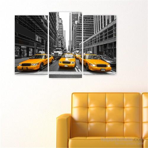 Dekoriza Siyah & Beyaz New York Taksi 3 Parçalı Kanvas Tablo 80X50cm