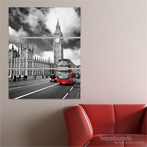 Dekoriza Siyah & Beyaz Londra 3 Parçalı Kanvas Tablo 70X95cm