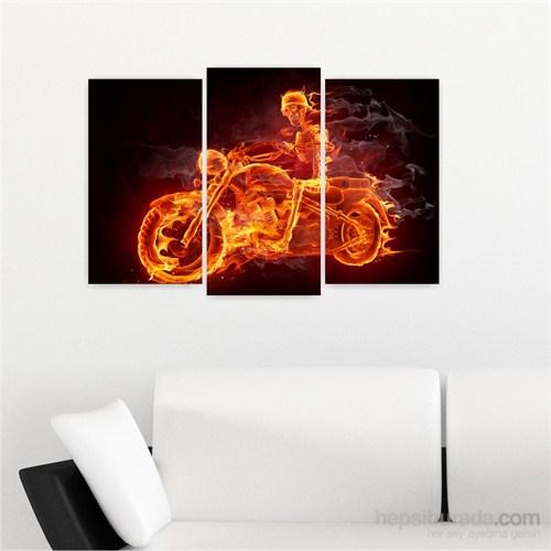 Dekoriza Alev Motorsiklet 3 Parçalı Kanvas Tablo 80X50cm