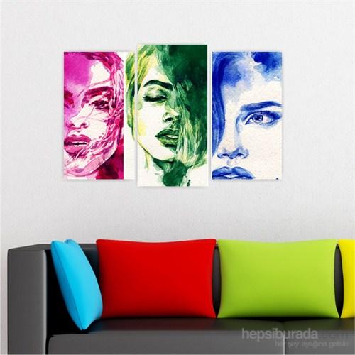 Dekoriza Soyut Kadınlar 3 Parçalı Kanvas Tablo 80X50cm