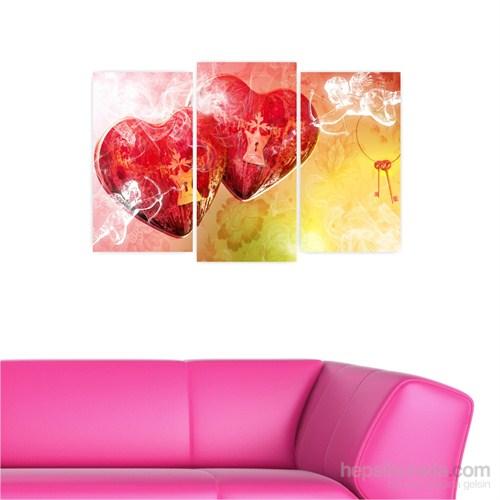 Dekoriza Soyut Melek & Kalpler 3 Parçalı Kanvas Tablo 80X50cm