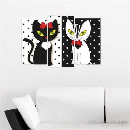Dekoriza Soyut Kediler 3 Parçalı Kanvas Tablo 80X50cm