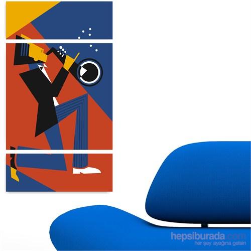 Dekoriza Soyut Müzisyen 3 Parçalı Kanvas Tablo 70X125cm