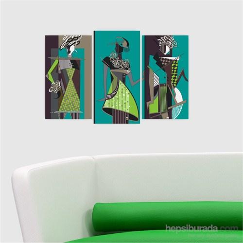 Dekoriza Soyut Kadınlar & Moda 3 Parçalı Kanvas Tablo 80X50cm