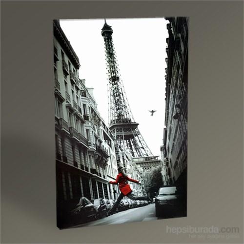 Tablo 360 Eyfel Kulesi Ve Kırmızı Paltolu Kadın Tablo