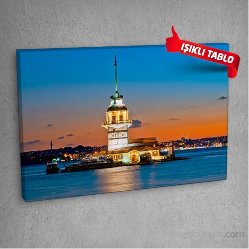 Kız-Kulesi-Darkv2 Led Işıklı Kanvas Tablo 50X70 Cm