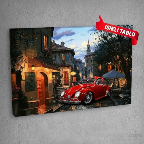 Voslar-Cafe-Kırmızı Led Işıklı Kanvas Tablo 50X70 Cm