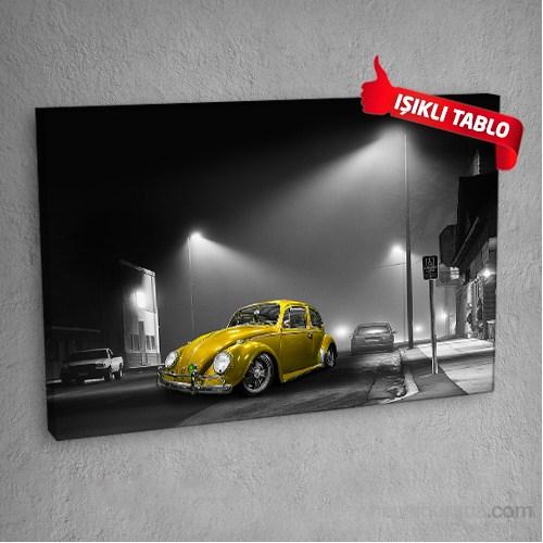 Voslar-Sokak-Sarı Led Işıklı Kanvas Tablo 50X70 Cm