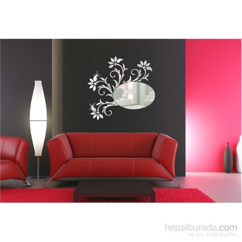 Çiçek Desenli Elips Dekoratif Ayna