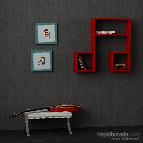 Decortie Lasido Kitaplık Raf Kırmızı