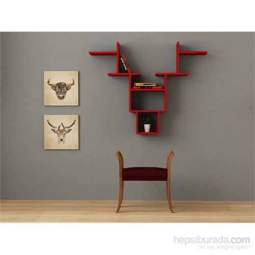 Decortie Deer Duvar Rafı Kırmızı