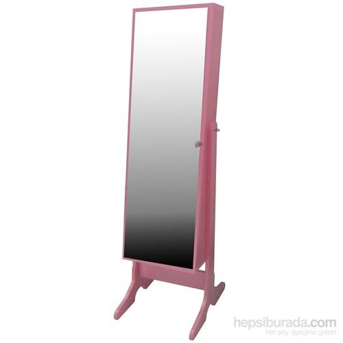 First Mobilya Caprise Ayaklı Aynalı Takı Ve Aksesuar Dolabı Pembe Pembe