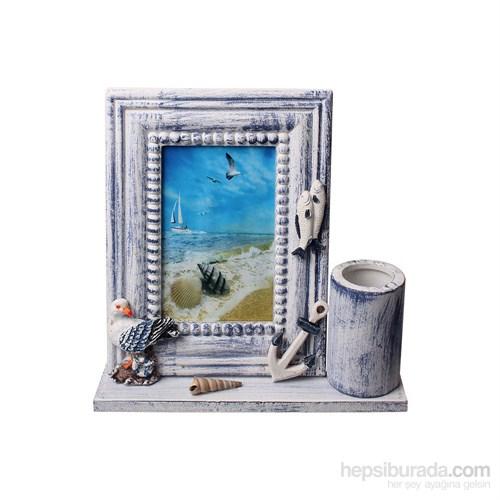 Evino Ahşap Çrçv Kuş Desnli Kalemlikli (Marina Seri)