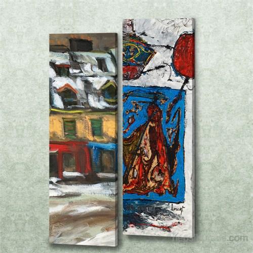 Dekorjinal 2 Li Dikdörtgen Kanvas Tablo Seti Sel044