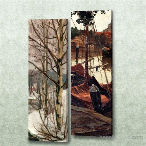 Dekorjinal 2 Li Dikdörtgen Kanvas Tablo Seti Sel047