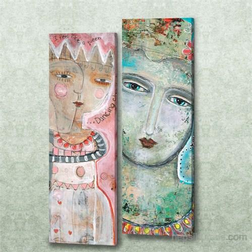 Dekorjinal 2 Li Dikdörtgen Kanvas Tablo Seti Sel048
