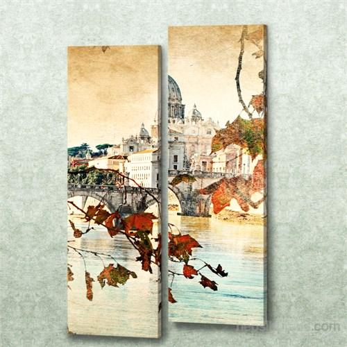 Dekorjinal 2 Li Dikdörtgen Kanvas Tablo Seti Sel083
