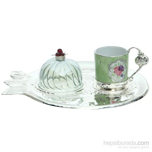 Miss Gaya Nar Tekli Kahve Seti/Yeşil-Gümüş