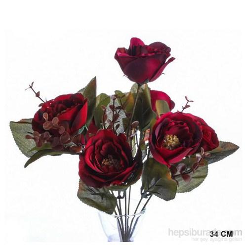 Yedifil Kırmızı Dekoratif Çiçek 1 Alana 1 Bedava