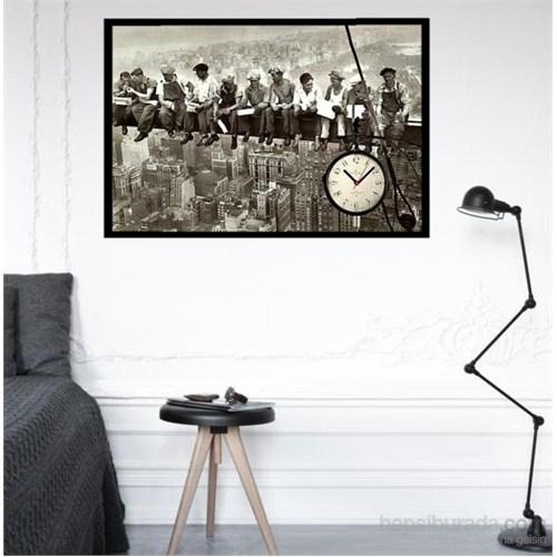 İskelede İşçiler - Çerçeveli Kanvas Saat