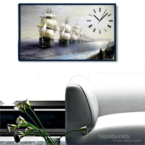 Gemiler - Çerçeveli Kanvas Saat