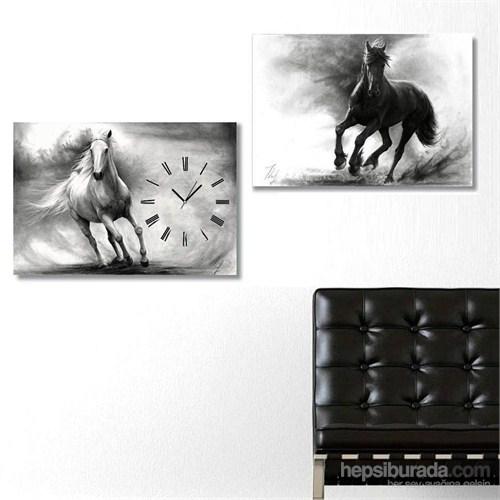 Atlar - 2 Parçalı Kanvas Saat