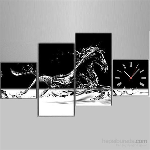 Koşan At - 4 Parçalı Kanvas Saat