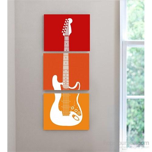 Renkli Gitar - 3 Parçalı Kanvas Tablo